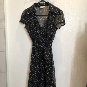 Black and white polka 3/4 length dress